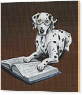 Book worm...Dog Art Painting Wood Print