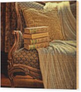 Books On Victorian Sofa Wood Print