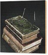 Books With Glasses Wood Print by Joana Kruse