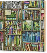 Bookshelf Wood Print