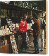 Bookstalls On Left Bank Wood Print