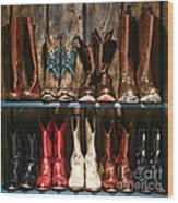 Boot Rack Wood Print by Olivier Le Queinec