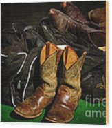 Boots And Bags Wood Print by Bob Hislop