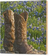 Boots And Bluebonnets Wood Print