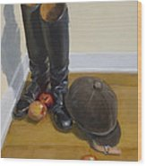 Boots Apples And Hard Hat Wood Print