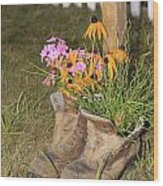 Boots In Bloom Wood Print
