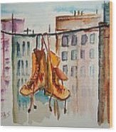 Boots On A Wire Wood Print