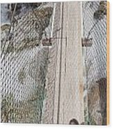 Boots On Narrow Swing Bridge Over White Water Wood Print