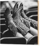 Boots Up - Bw Wood Print