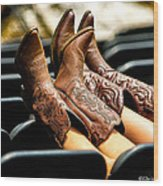 Boots Up Wood Print