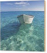 Bora Bora White Boat Wood Print