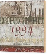 Bordeaux Blanc Label 2 Wood Print by Debbie DeWitt