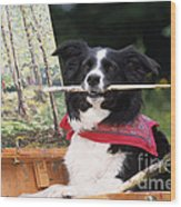 Border Collie At Painting Easel Wood Print