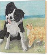 Border Collie Dog Orange Tabby Cat Art Wood Print