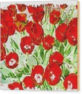 Bordered Red Tulips Wood Print