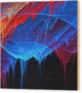 Borealis - Blue And Red Abstract Wood Print