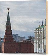 Borovitskaya Tower Of Moscow Kremlin - Square Wood Print