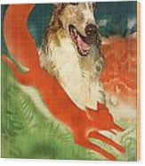 Borzoi Art - Hunting In The Ussr Poster Wood Print