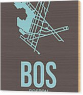 Bos Boston Airport Poster 2 Wood Print