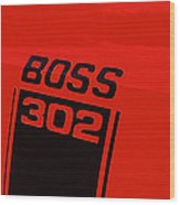 Boss 302 Emblem On A Car Wood Print