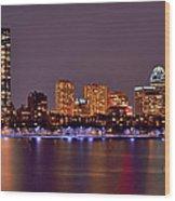 Boston Back Bay Skyline At Night Color Panorama Wood Print