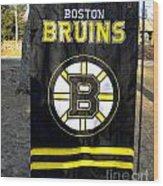 Boston Bruins Flag Wood Print