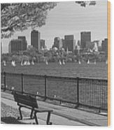 Boston Charles River Black And White  Wood Print