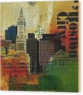 Boston City Collage 2 Wood Print by Corporate Art Task Force