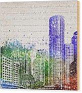 Boston City Skyline Wood Print by Aged Pixel