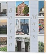 Boston Collage Wood Print