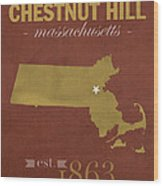 Boston College Eagles Chestnut Hill Massachusetts College Town State Map Poster Series No 020 Wood Print