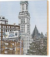Boston Custom House Tower Wood Print