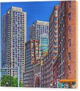 Boston Financial District Wood Print