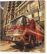 Boston Fire Truck  Wood Print