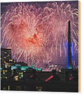 Boston Fireworks 1 Wood Print