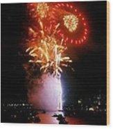 Boston Fireworks  Rings And Pinwheels Wood Print