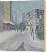 Boston First Snow Wood Print