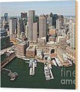 Boston Harbor And Boston Skyline Wood Print