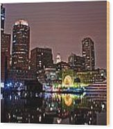 Boston Harbor At Night  Wood Print