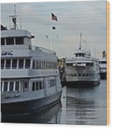 Boston Harbor Cruise Three In A Row Wood Print