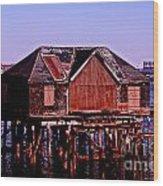 Boston Harbor Pier Dwelling Wood Print