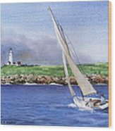 Boston Light Wood Print
