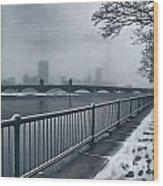 Boston Longfellow Bridge-snow Cityscape Wood Print