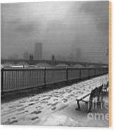 Boston Longfellow Bridge-snow Cityscape V3 Wood Print