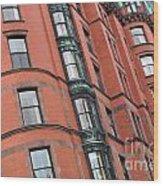 Boston Ma Building Facade Wood Print