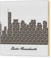 Boston Massachusetts 3d Stone Wall Skyline Wood Print