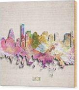 Boston Painted City Skyline Wood Print
