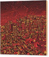 Boston Panorama Red Wood Print