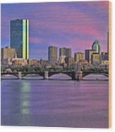 Boston Pastel Sunset Wood Print by Joann Vitali