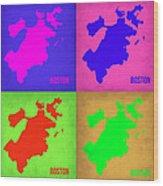 Boston Pop Art Map 1 Wood Print